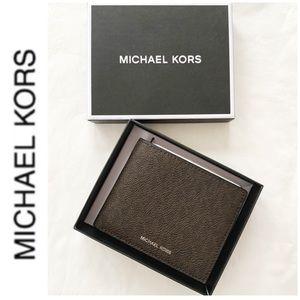 NWT authentic MK monogram wallet brown